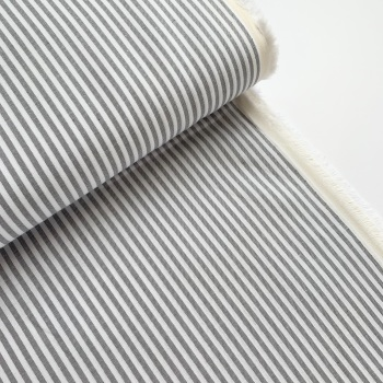 100% Yarn Dyed Cotton 3mm Stripe - Grey