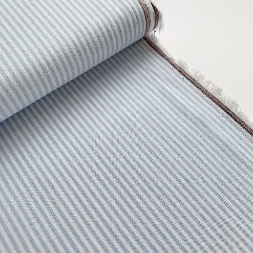 100% Yarn Dyed Cotton Stripe - Baby Blue