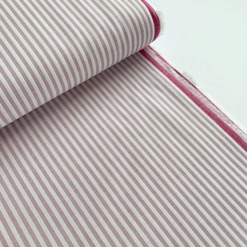 100% Yarn Dyed Cotton Stripe - Dusky Lilac
