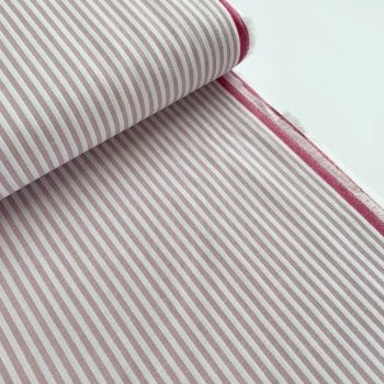 100% Yarn Dyed Cotton 3mm Stripe - Dusky Lilac