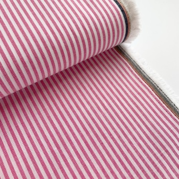100% Yarn Dyed Cotton 3mm Stripe - Candy Pink