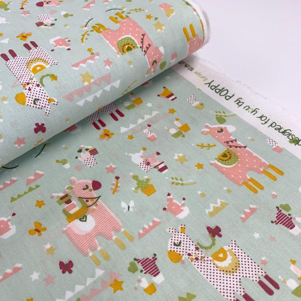 Poppy Europe Fabrics - Lama Cactus Party - Mint