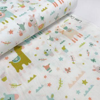 Poppy Europe Fabrics - Llama Cactus Party - White