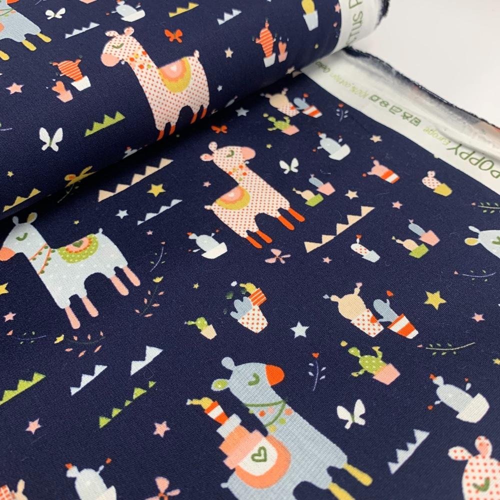 Poppy Europe Fabrics - Lama Cactus Party - Navy