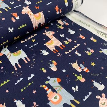 Poppy Europe Fabrics - Llama Cactus Party - Navy