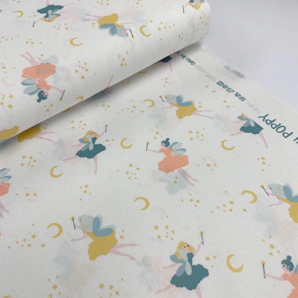 Poppy Europe Fabrics - Magical Night - White Fairies