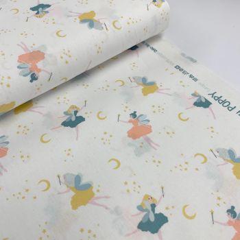 Poppy Europe Fabrics - Magical Night - White Fairies  100% Organic Cotton GOTS