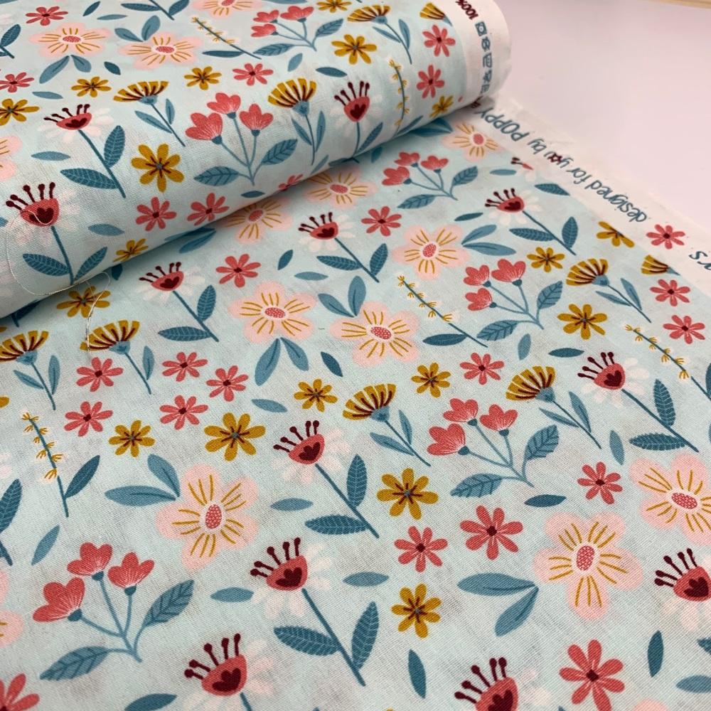 Poppy Europe Fabrics - Flowers - Light Turquoise