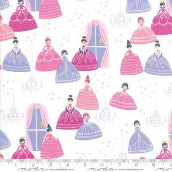 REMNANT 90CM X 110CM Moda Fabrics - Once Upon a Time - Grand Ball White