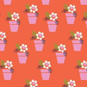 REMNANT 45CM X 110CM Amelie by Dashwood Studio - Flower Pots on Red