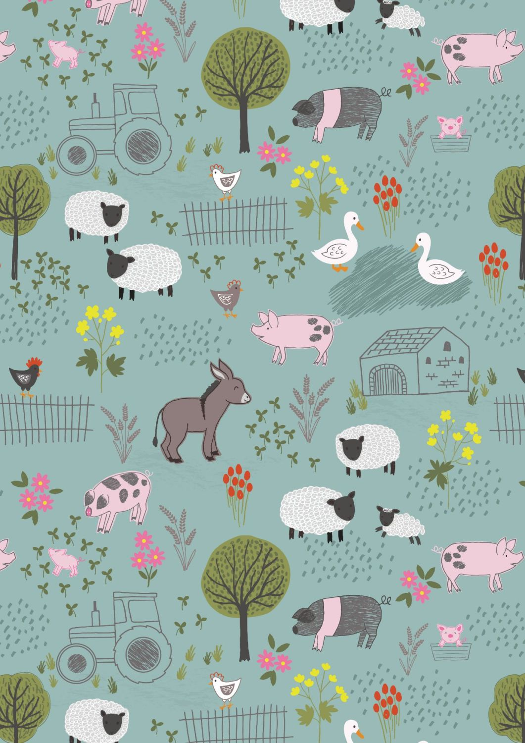 Lewis and Irene - Piggy Tales - Farmyard on Duck Egg