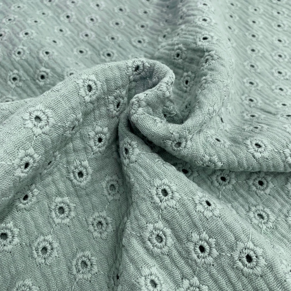 Daisy Embroidery Double Gauze - Nile Green
