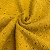 Daisy Embroidery Double Gauze - Ochre