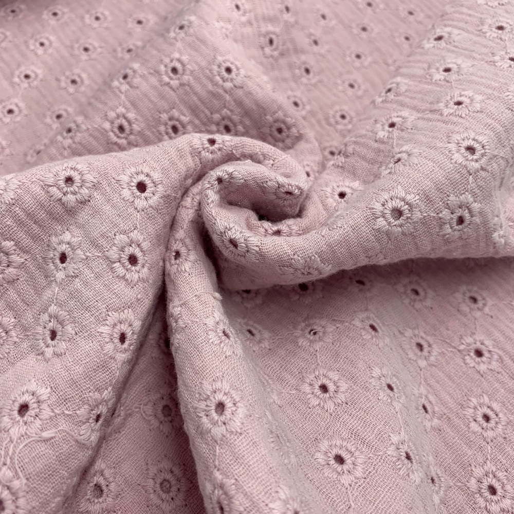Daisy Embroidery Double Gauze - Soft Rose