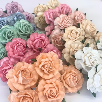 Mulberry Paper Flowers - Tea Roses 40mm  - Mixed Pastel Pack