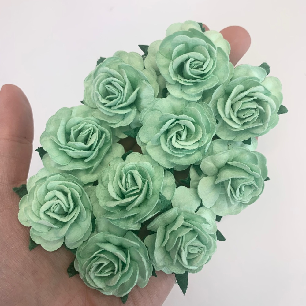 Mulberry Paper Flowers - Tea Roses 40mm  - Pastel Green
