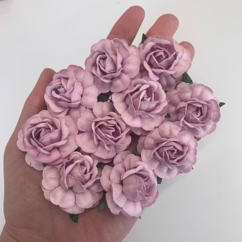 Mulberry Paper Flowers - Tea Roses 40mm  - Lilac
