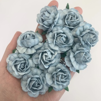 Mulberry Paper Flowers - Tea Roses 40mm  - Baby Blue