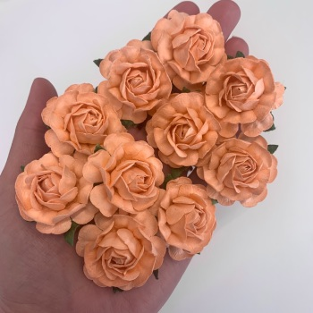 Mulberry Paper Flowers - Tea Roses 40mm  - Peach