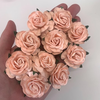Mulberry Paper Flowers - Tea Roses 40mm  - Peach Puff