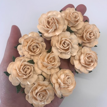 Mulberry Paper Flowers - Tea Roses 40mm  - Deep Ivory