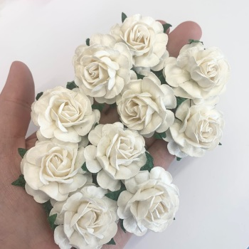 Mulberry Paper Flowers - Tea Roses 40mm  - White