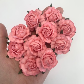 Mulberry Paper Flowers - Tea Roses 40mm  - Pink