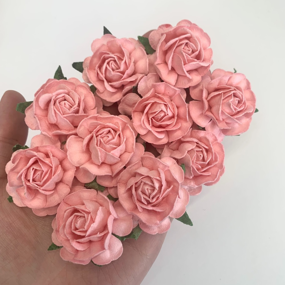 Mulberry Paper Flowers - Tea Roses 40mm  - Baby Pink