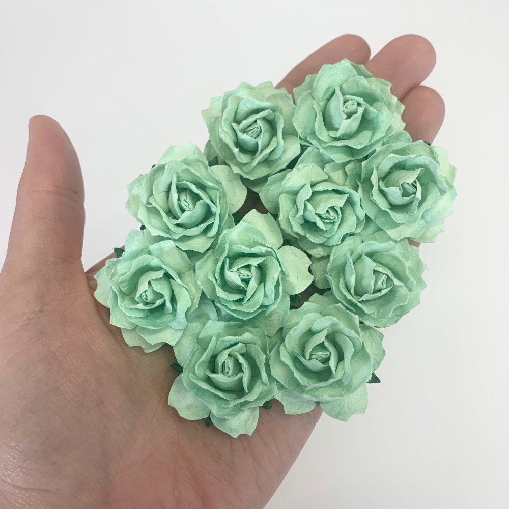 Mulberry Paper Flowers - Cottage Roses 30mm  - Pastel Green