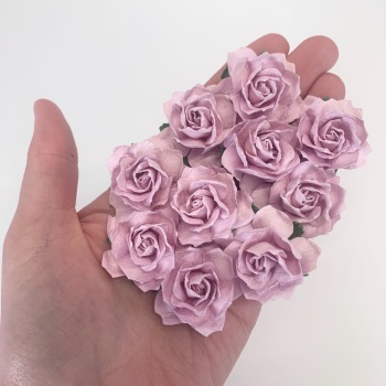 Mulberry Paper Flowers - Cottage Roses 30mm  - Lilac