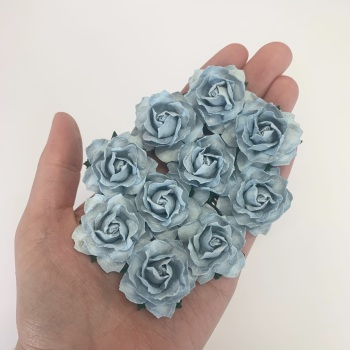 Mulberry Paper Flowers - Cottage Roses 30mm  - Baby Blue