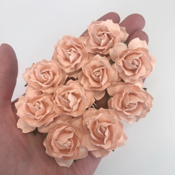 Mulberry Paper Flowers - Cottage Roses 30mm  - Peach Puff
