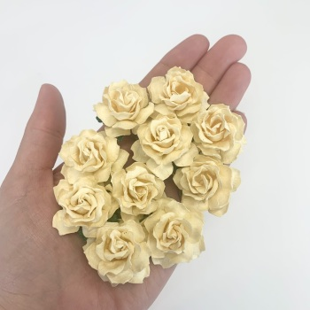 Mulberry Paper Flowers - Cottage Roses 30mm  - Cream
