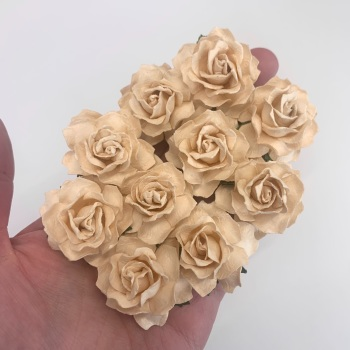 Mulberry Paper Flowers - Cottage Roses 30mm  - Deep Ivory