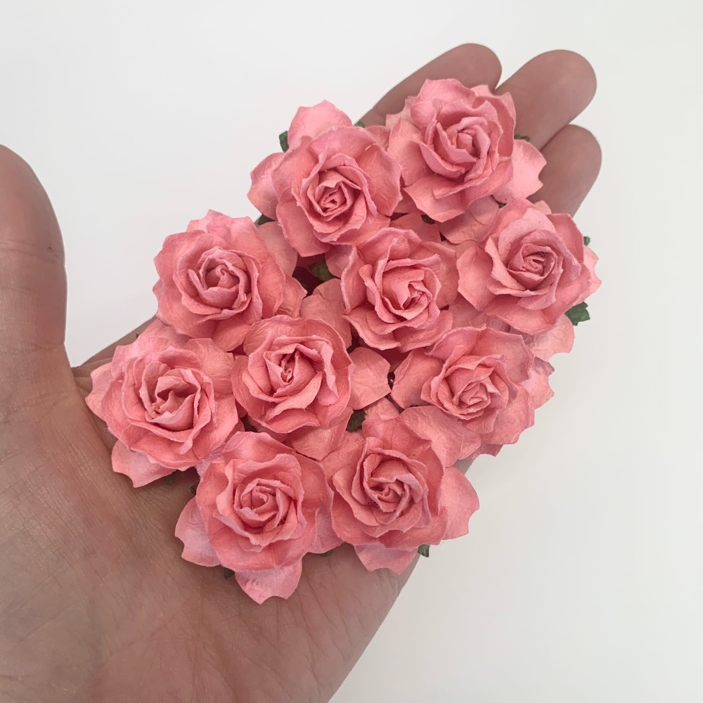 Mulberry Paper Flowers - Cottage Roses 30mm  - Pink