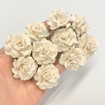 Mulberry Paper Flowers - Tuscany Roses 35mm  - Ivory  (x 5)