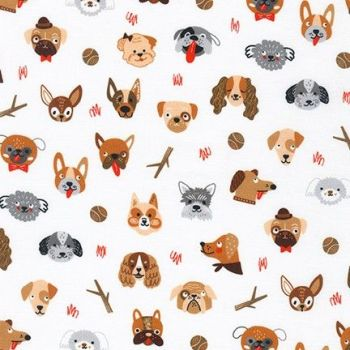 Robert Kaufman - Whiskers and Tails - Dog Faces White