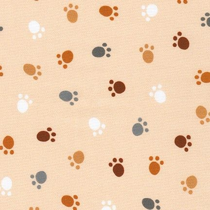 Robert Kaufman - Whiskers and Tails - Paw Print Natural