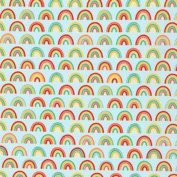 Robert Kaufman - Bright Days - Mini Rainbows on Blue