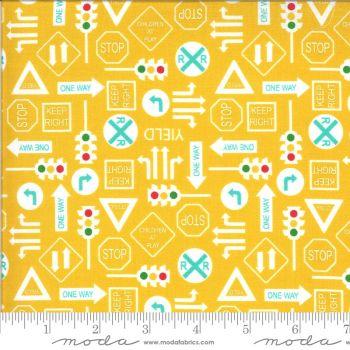 Moda Fabrics - On the Go - Road Signs Yellow