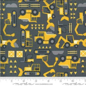 Moda Fabrics - On the Go - Digging on Dark Grey