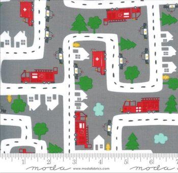 Moda Fabrics - On the Go - Red Trucks on Grey