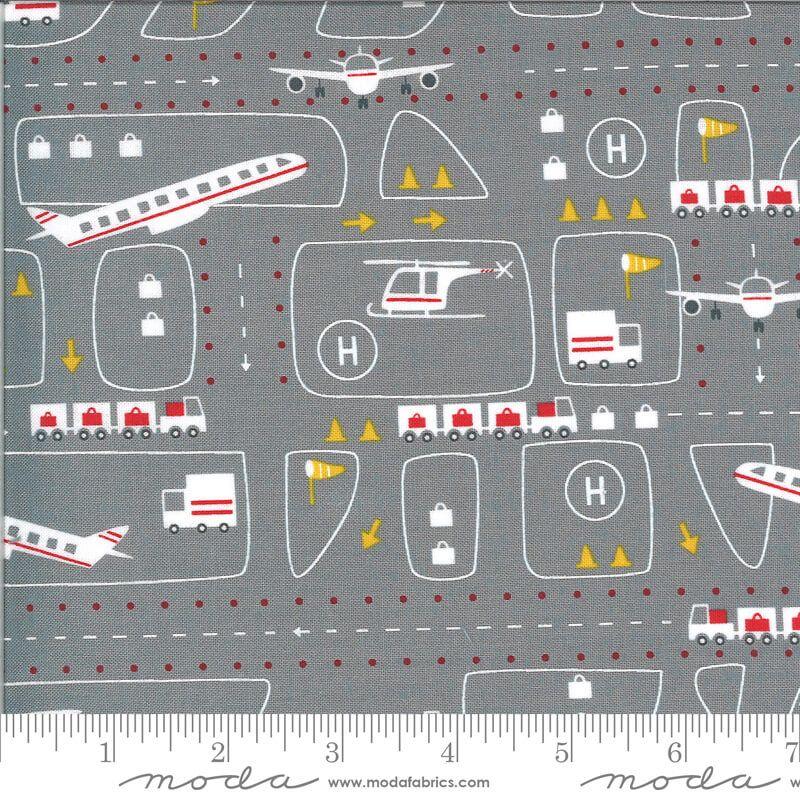 Moda Fabrics - On the Go - Airport on Grey