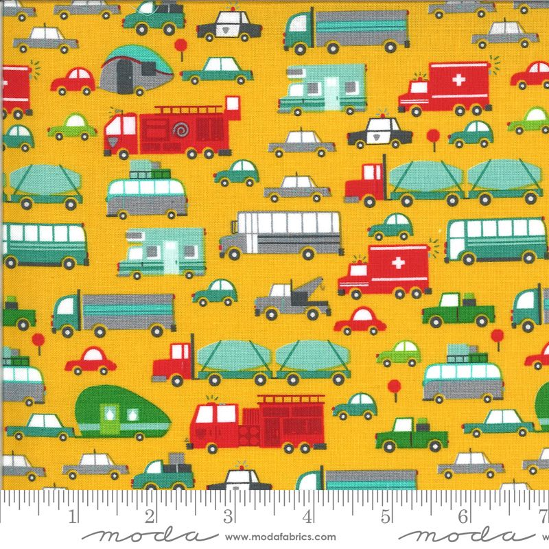 Moda Fabrics - On the Go - Vehicles on Yellow