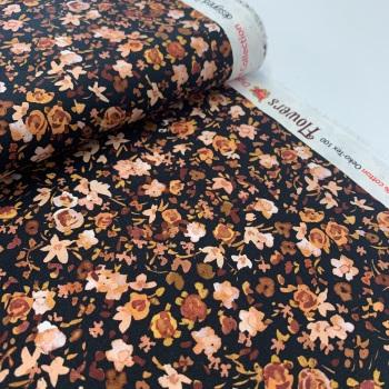 Poppy Europe Fabrics - Autumn Flowers - Copper on Black - Digital Print