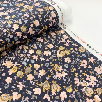 Poppy Europe Fabrics - Autumn Flowers -Dusky Blue on Navy - Digital Print