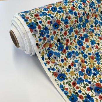 Rose and Hubble Fabrics - 100% Cotton Poplin Poppy Fields Blue