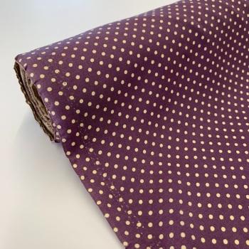 Rose and Hubble Fabrics - 100% Cotton Poplin  3mm Spots Polka Dot Plum with beige spots