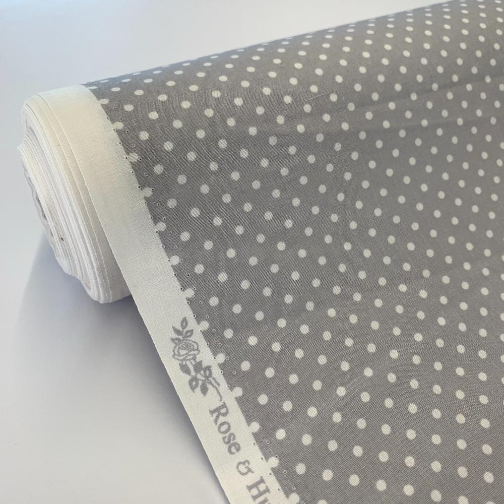 Rose and Hubble Fabrics - 100% Cotton Poplin  3mm Spots Polka Dot Silver