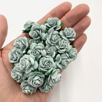 Mulberry Paper Open Roses - Light Silver 10mm 15mm 20mm